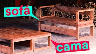 DIY - SOFÁ-CAMA DE MADEIRA