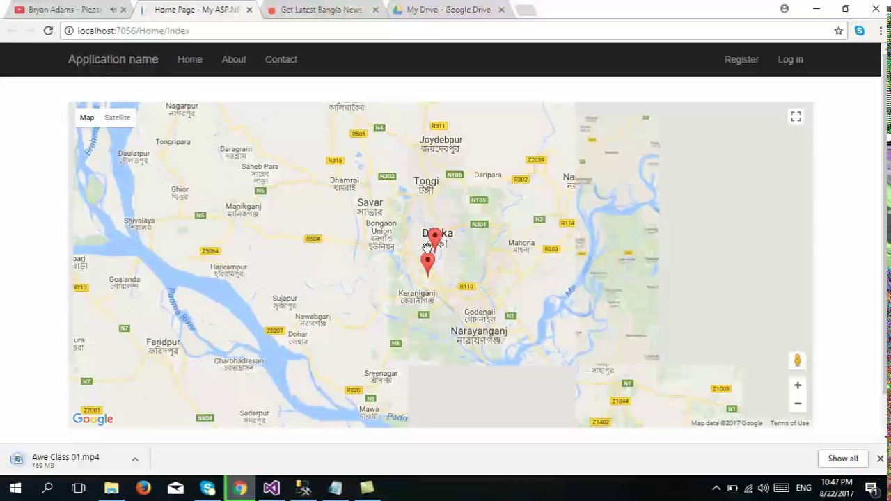 Part-3:How to Add and Show Markers(Location) in Google Map from database in  ASP NET MVC | Jquery