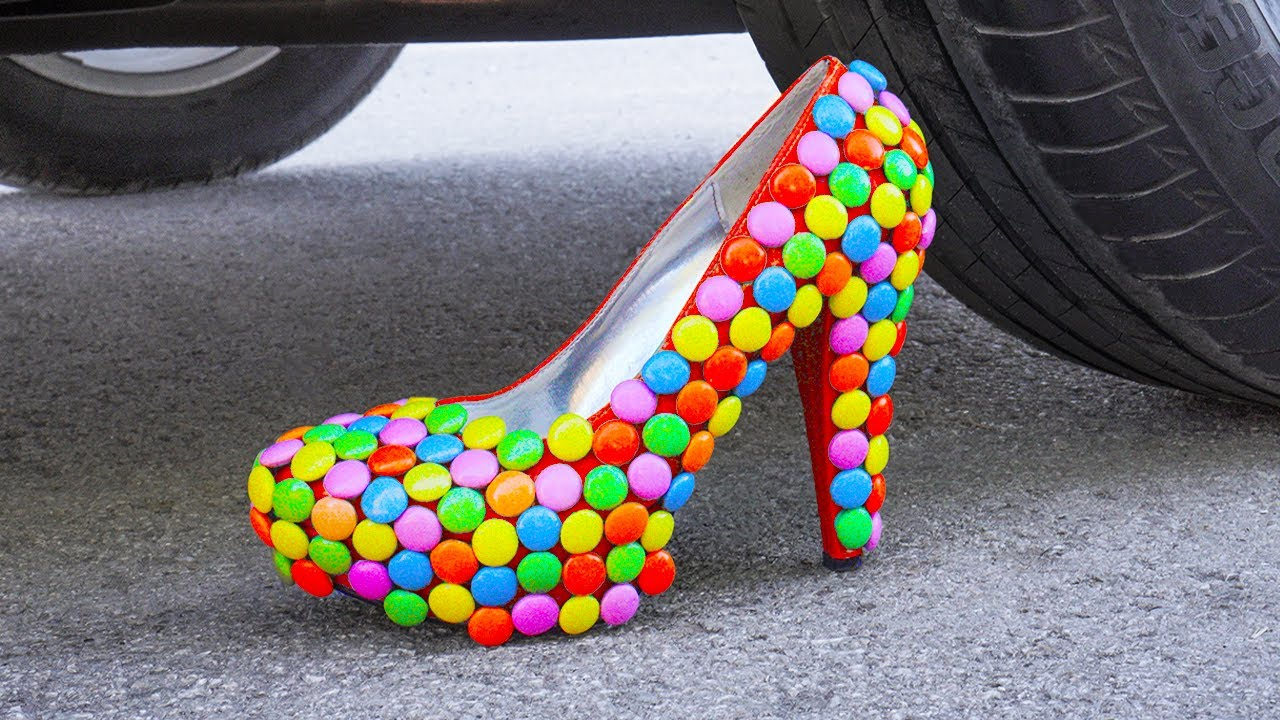 Car vs High Heeled Shoes Experiment | Crushing Crunchy & Soft Things by Car