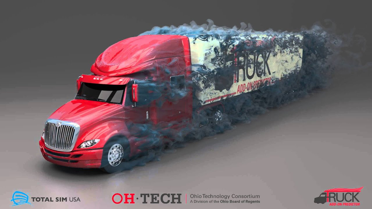totalsim cfd simulation of semi truck and trailer
