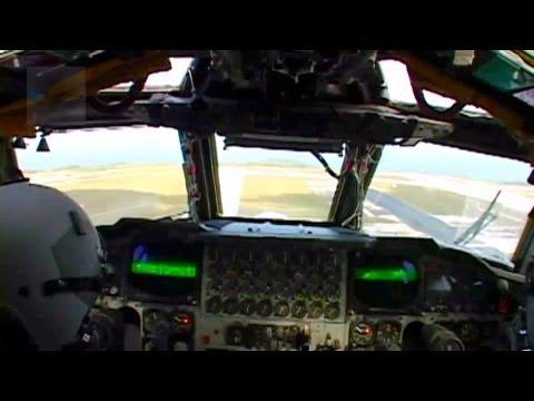 B-52 Stratofortress Cockpit View - Take-off, Landing.