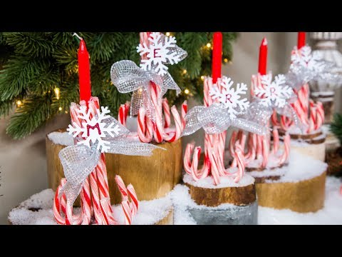 DIY Candy Cane Candle Holders - Home & Family