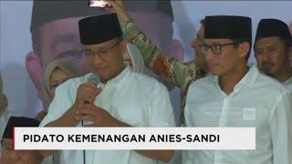 Pidato Kemenangan Anies - Sandi Usai Unggul di Quick Count Pilkada DKI