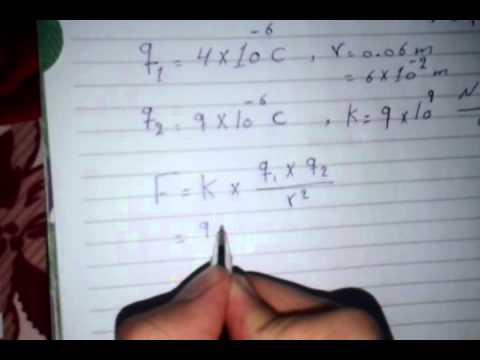 فيزياء الثالث متوسط 3 قانون كولوم مع مثال تطبيقي للقانون