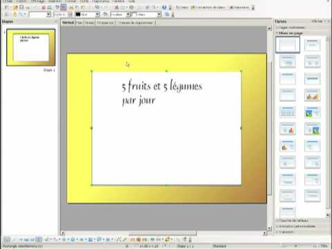 Cr ation d 39 un diaporama avec openoffice impress youtube - Comment faire un diaporama sur open office ...