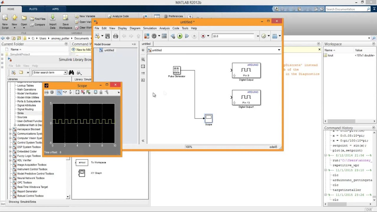 How to use Matlab 2012 Simulink & Arduino