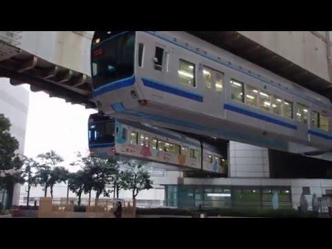 Chiba Urban Monorail trains meet above SOGO