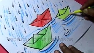 How to Draw Rainy Season Drawing for kids