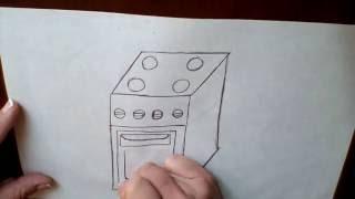 Рисуем электро плиту-Draw electric stove-绘制电炉.