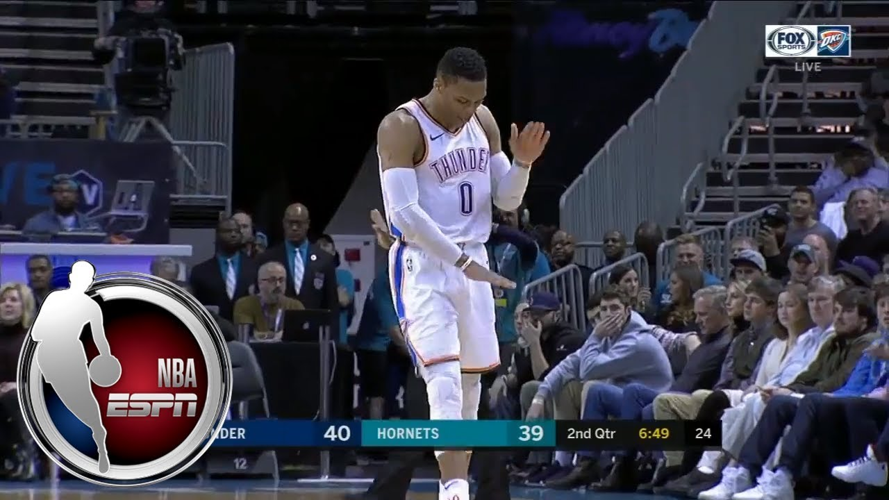 6c36a73161d5 Russell Westbrook talks to his hand after and-1