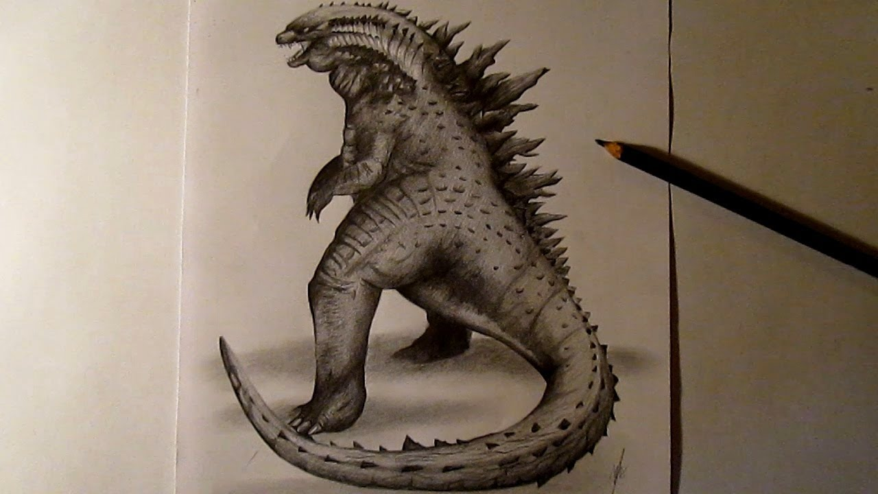 Godzilla 2014 Amazing Fan Art-Speed drawing - YouTube