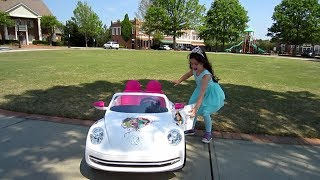 Disney VW Beetle Princess Car - Test drive to the playground