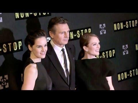 Julianne Moore,Liam Neeson, Quinn McColgan and Michelle Dockery at Non Stop Premiere in Paris