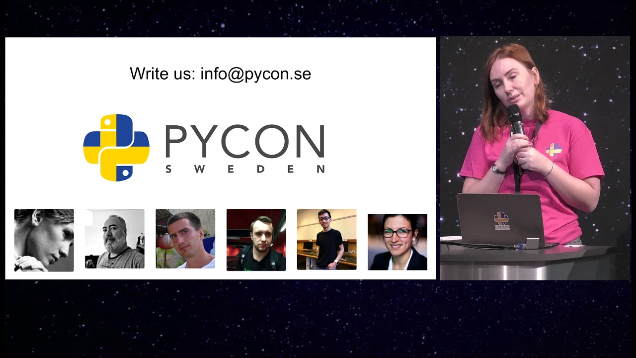 Image from PyCon Sweden 2018 opening by chairwoman Anna K. Lindegren