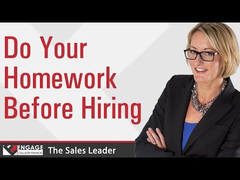 Sales Tip - Do Your Homework before Hiring
