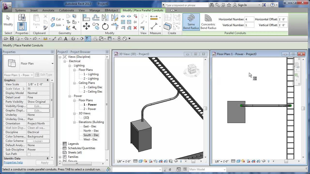 Cadclip Revit 2013 Mep Intro Parallel Conduit Youtube