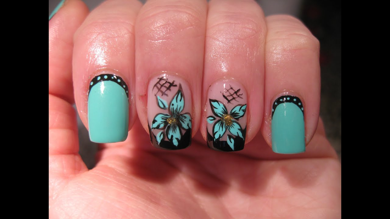 Nail Art Black French With Turquoise Flower Youtube
