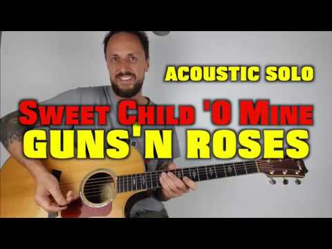 Sweet Child 'O Mine Acoustic Solo Guitar Lesson Guns 'N Roses