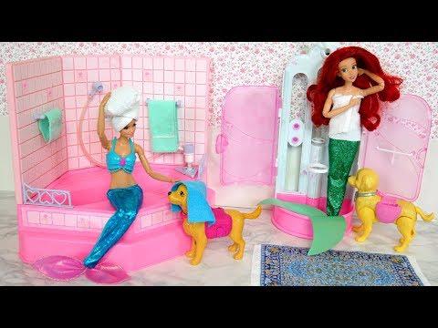 Disney Princess Ariel Mermaid Barbie Pup Bathroom Shower Routine New dress up
