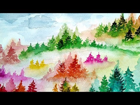 Watercolor Trees In The Mist – How To Paint Watercolor Forest Landscape