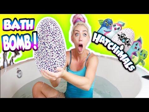 DIY GIANT HATCHIMALS BATH BOMB! SUPRISE TOY HATCH! HOW TO MAKE HATCHIMALS BATH BOMB