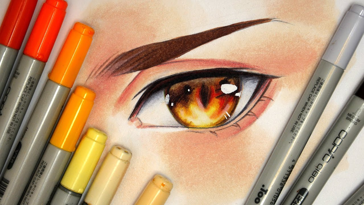 Drawing an Eye【Copic Markers and Pencils】 - YouTube Copic Markers Drawing