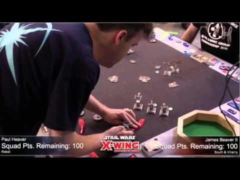 X Wing Worlds 2015 Round 1 - Paul Heaver (Poe, Stressbot) vs James Beaver (IG's)