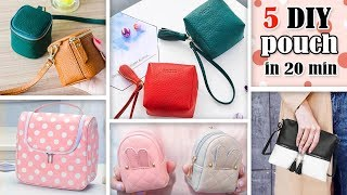 5 ADORABLE DIY POUCH BAG TUTORIAL // Easy Fantastic Ideas old Bag Recycle
