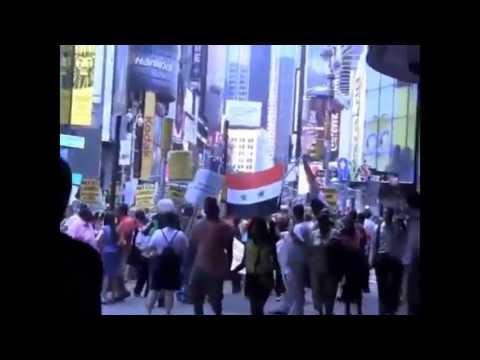 Demo in New York: Hände weg von Syrien - Breites US-Bündnis fordert Ende der Kriege 12.7.13