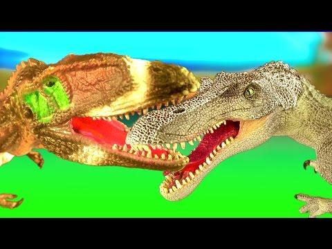 DINOSAUR Fight CARCHARODONTOSAURUS vs SPINOSAURUS Battle T rex Jurassic Dino Kids Toys