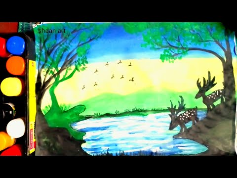 How to paint easy painting of deer in nature//easy step by step