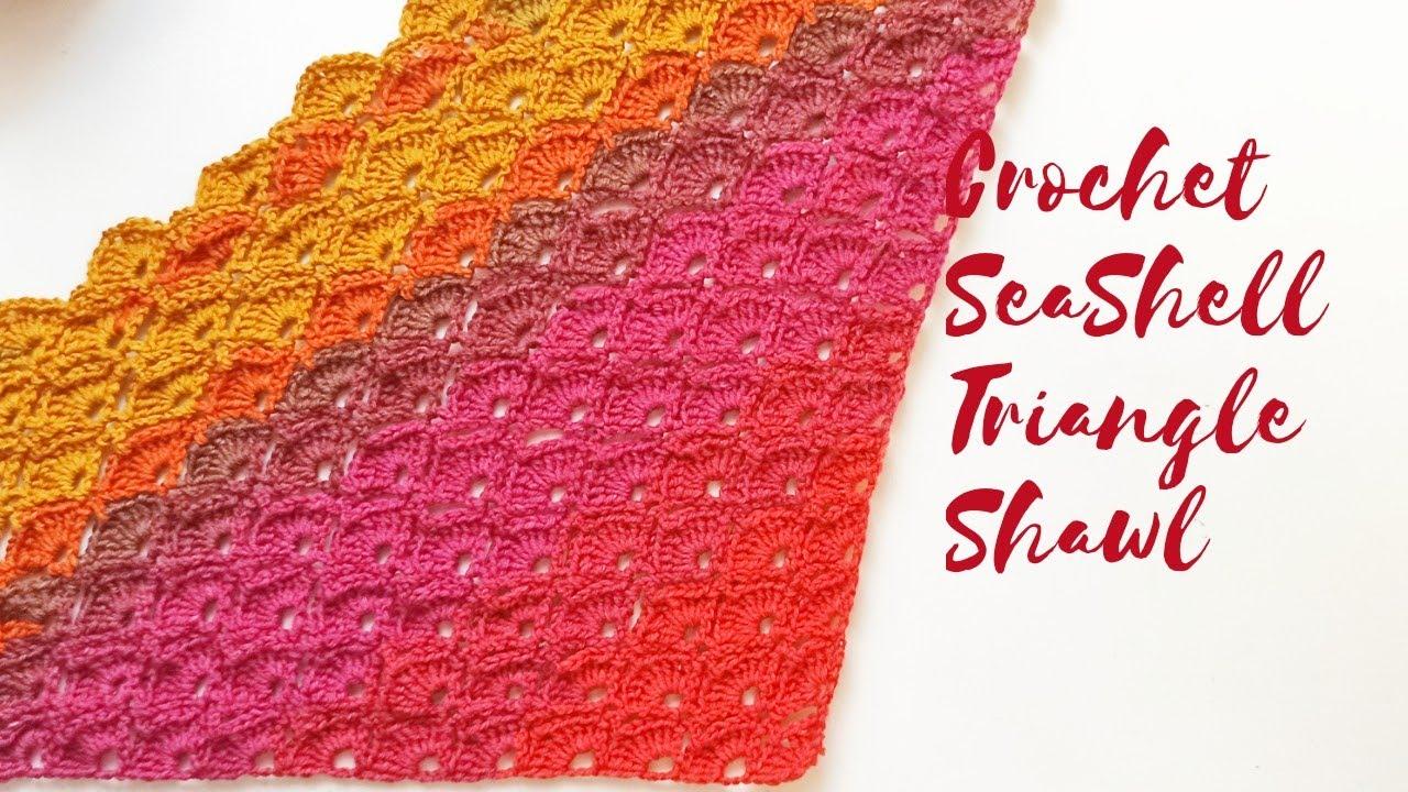 Crochet  Seashell Triangle Shawl / Beginner Friendly Tutorial