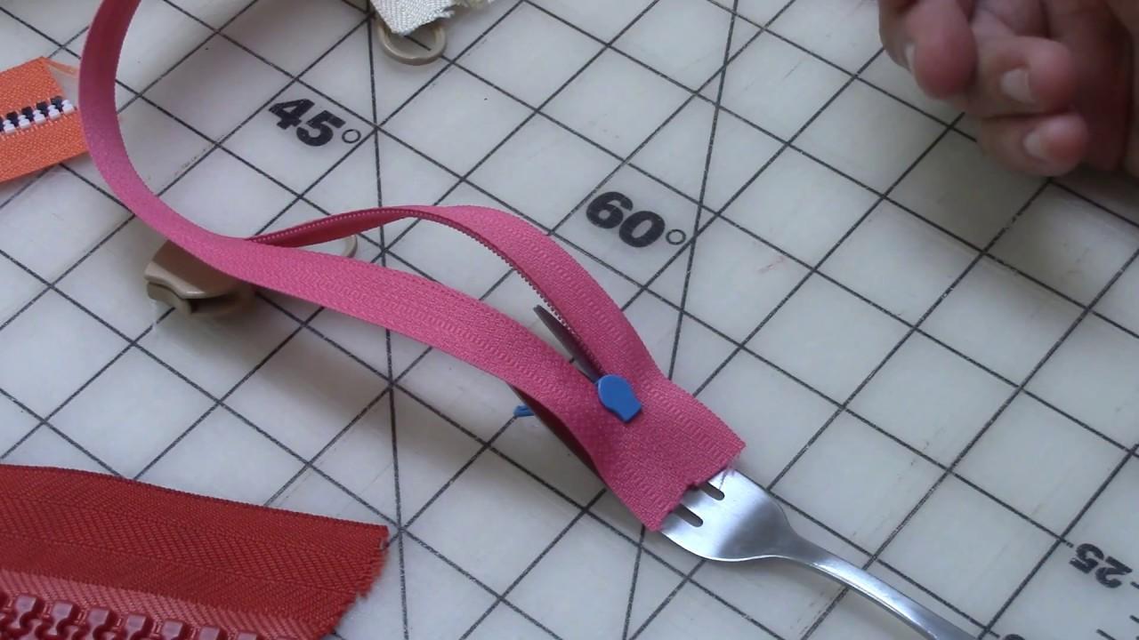 Fork Trick to Put Zipper Heads On Zipper Yardage