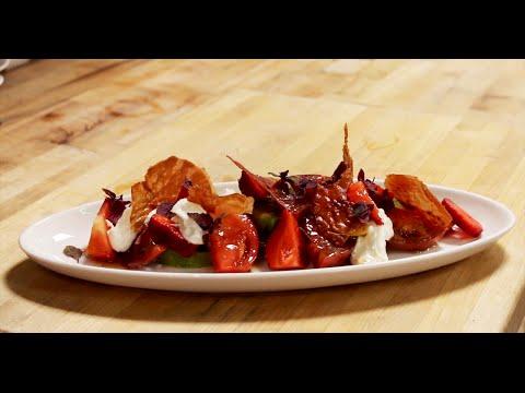 Heirloom Tomato Salad, Garden Strawberries, Ume Plum Vinaigrette