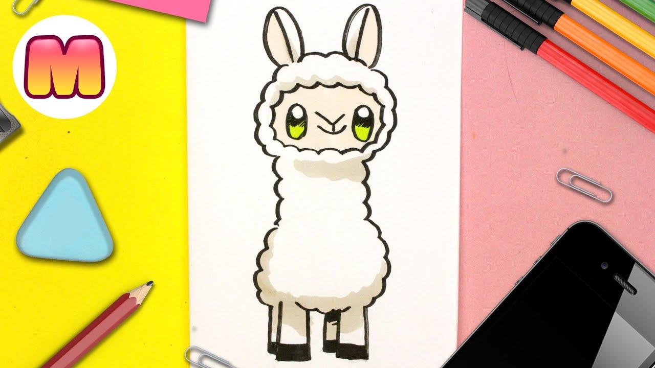 COMO DIBUJAR UNA LLAMA KAWAII - dibujos kawaii faciles - Aprende a dibujar una alpaca kawaii