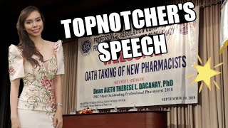 Topnotcher's Speech at Pharmacists' Oathtaking
