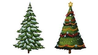 Уроки рисования. Как нарисовать елку. Ель поэтапно - How to draw Christmas Tree with Presents(Готовимся к зиме , к Новому 2016 году. Рисуем новогоднюю Ёлку ▻ Скачайте видео урок