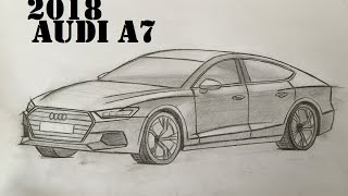 2018 All New Audi A7 Speed Drawing HD Sketching - How to draw a Car (2017/2018)