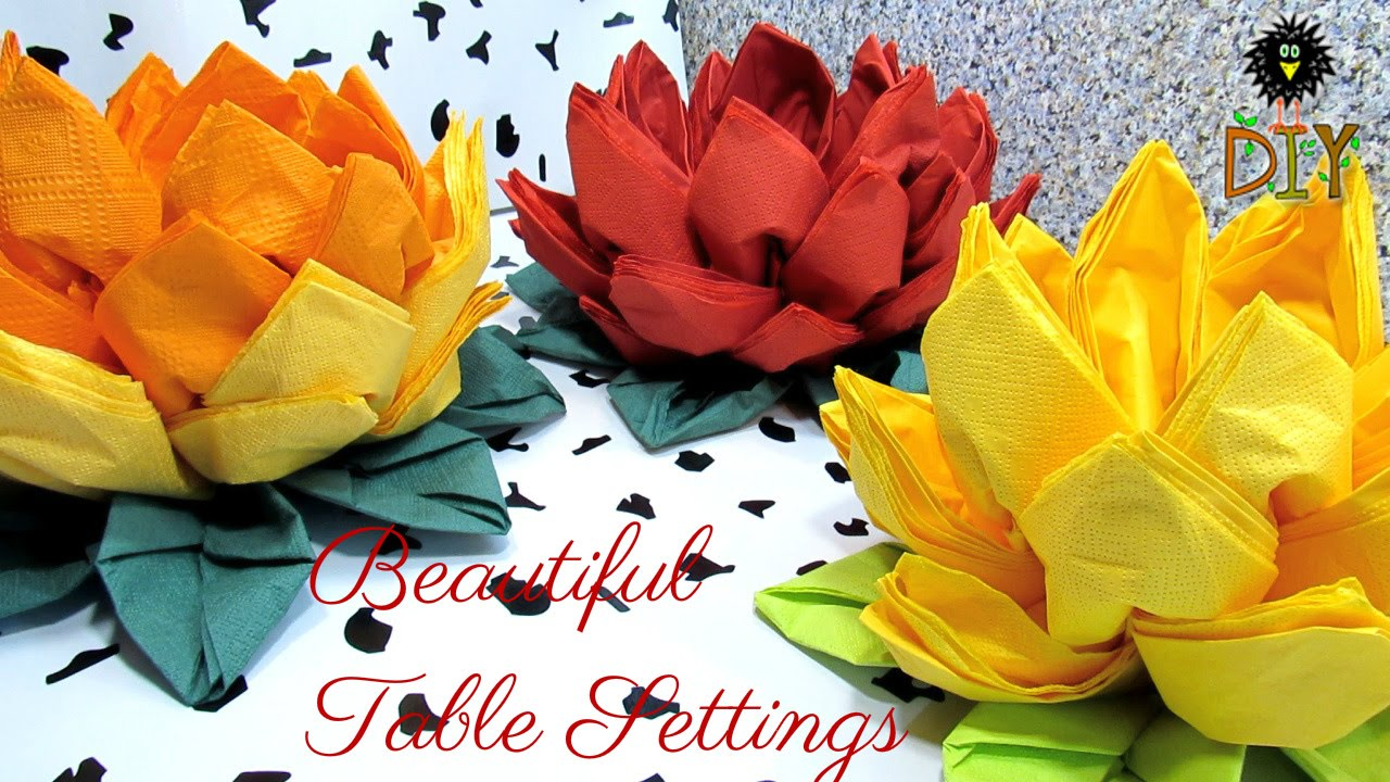 Lotus of napkins beautiful table setting how to fold napkins as lotus of napkins beautiful table setting how to fold napkins as a flower tutorial youtube mightylinksfo