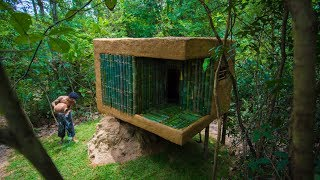 Build Mini Jungle Bamboo Villa on Termite Mound By Ancient Skills