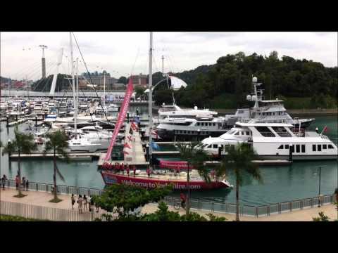 Clipper Yachts arrive at Marina Keppel Bay Singapore Sat 28 Jan 2012.wmv