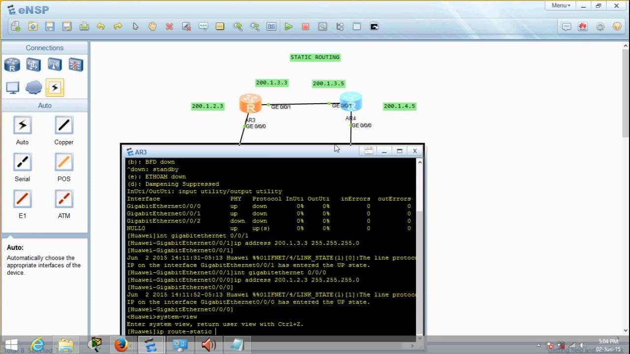 Huawei eNSP Basic Networking Series - Static Routing using 2 routers