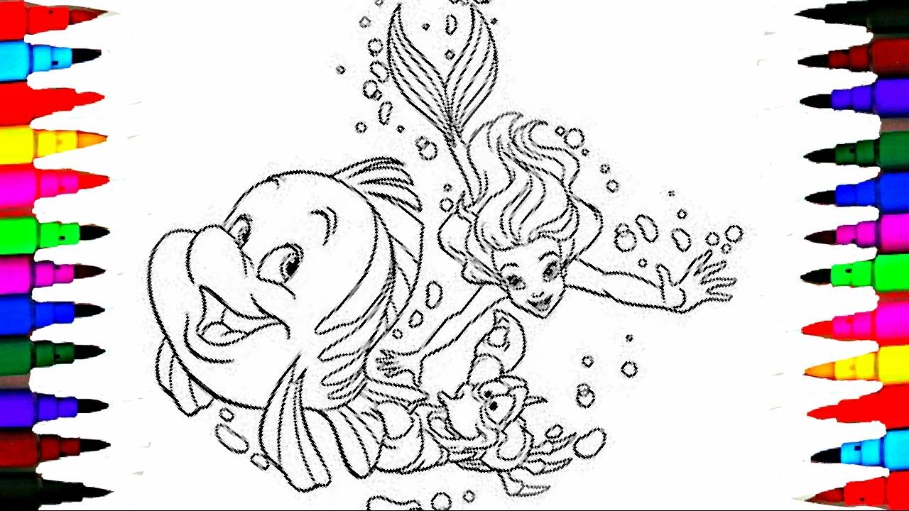 Disney Princess Ariel and Flounder BEST LEARNING Coloring Book l Pages Videos for Children YouTube