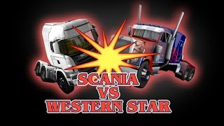 ETS 2 - Scania (Galvatron) VS Western Star (Optimus Prime) - TRANSFORMERS - Peterbilt 389