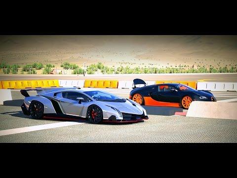 forza 5 drag race lamborghini veneno vs bugatti veyron ss