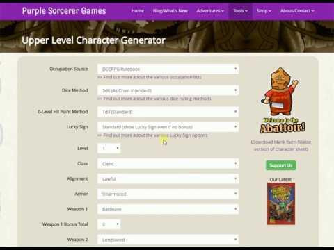 Purple Sorcerer Games: Upper Level Character Generator