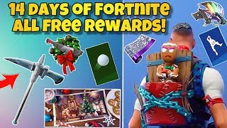 14 Days of Fortnite *ALL* FREE REWARDS! - UNLOCK Pets, Emotes & More (Fortnite Free Daily Rewards)