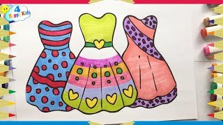 How to Draw and Color Dresses for Girls Learning How to Paint