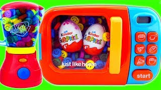 Blender Microwave Just Like Home Surprise Egg Smurfs Learn Colors M&M Chocolate Baby Dolls Bath Time