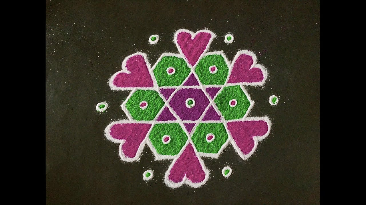 Easy Rangoli Design With Colours for Festivals and competitions ... for small rangoli designs for daily  110zmd